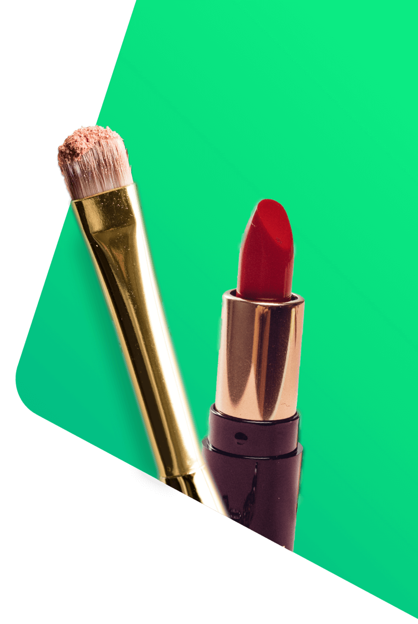 Lipstick and makeup brush for esthetician and beauty insurance by Thimble