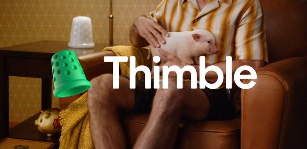 Green Thimble Insurance logo and wordmark over video still of actor with pig