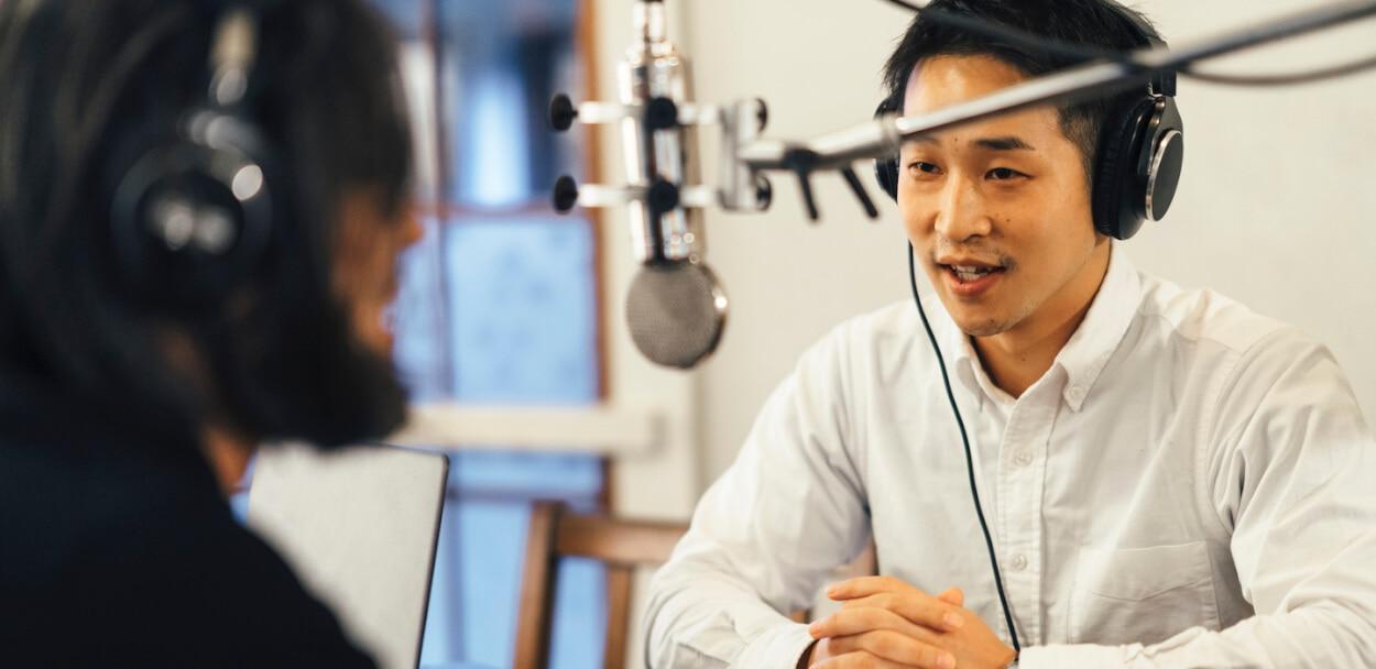 businessman being interviewed