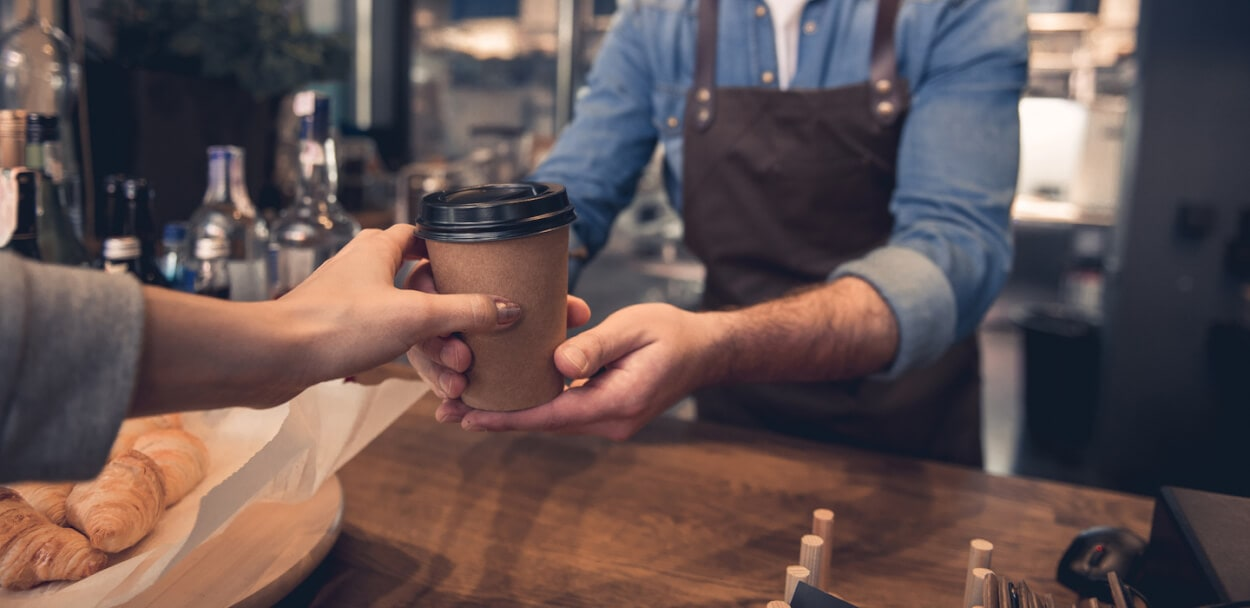 buying a coffee showing -