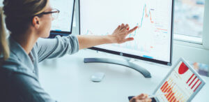 woman assessing business risk