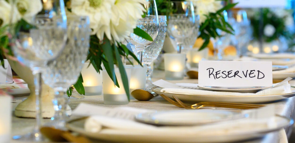 reserved place setting at an event