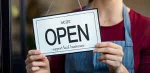 opening a business sign