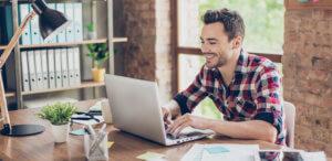 happy freelancer finding work