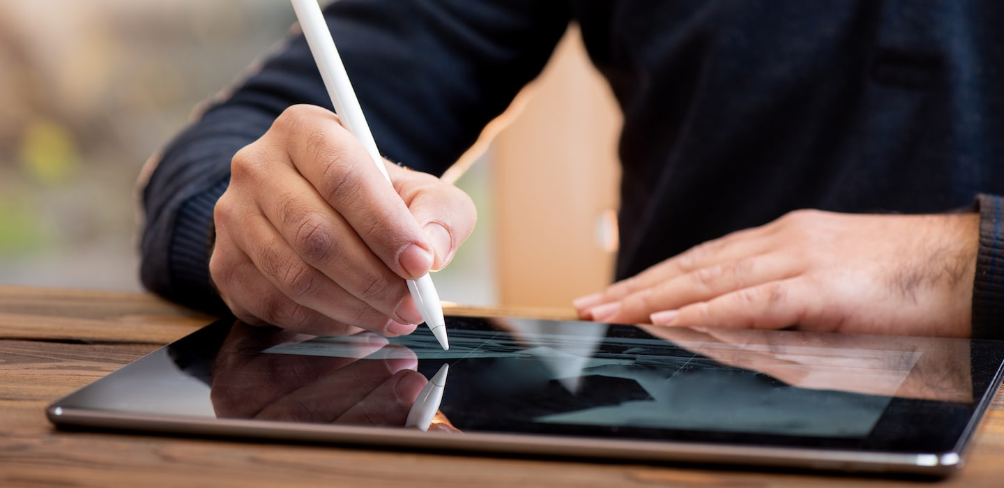 graphic designer working on a tablet