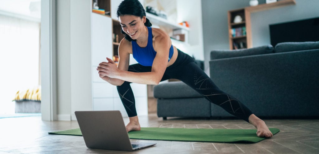personal trainer teaching an online class