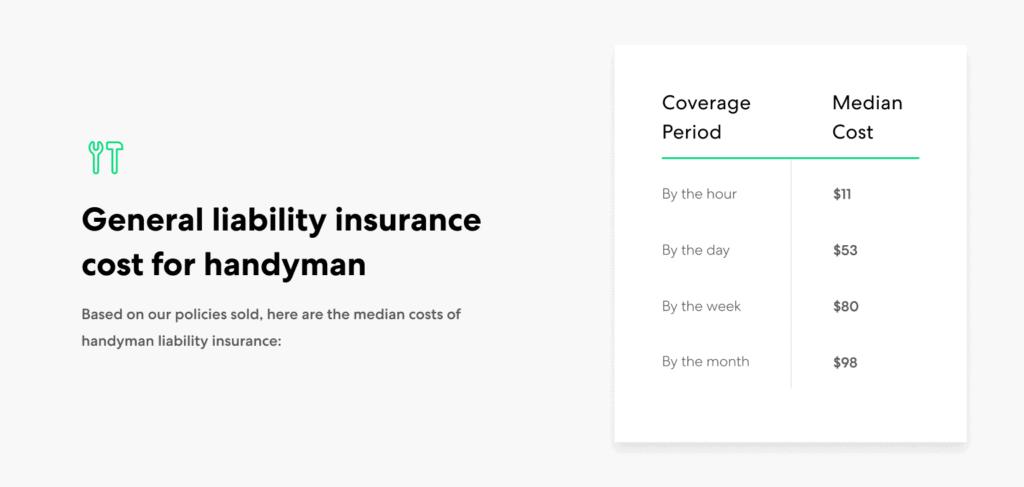 Handyman-GL insurance cost ranges