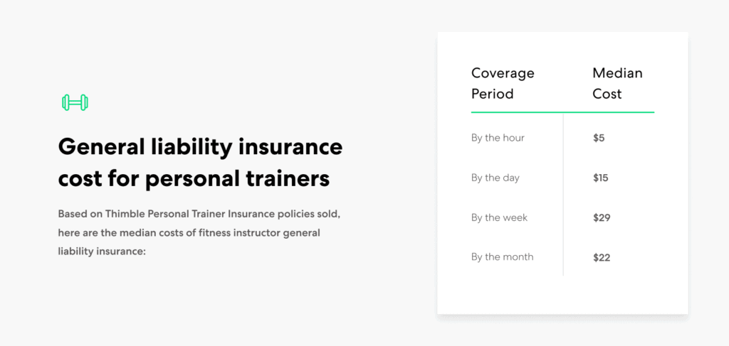 Personal Trainers general liability insurance cost range