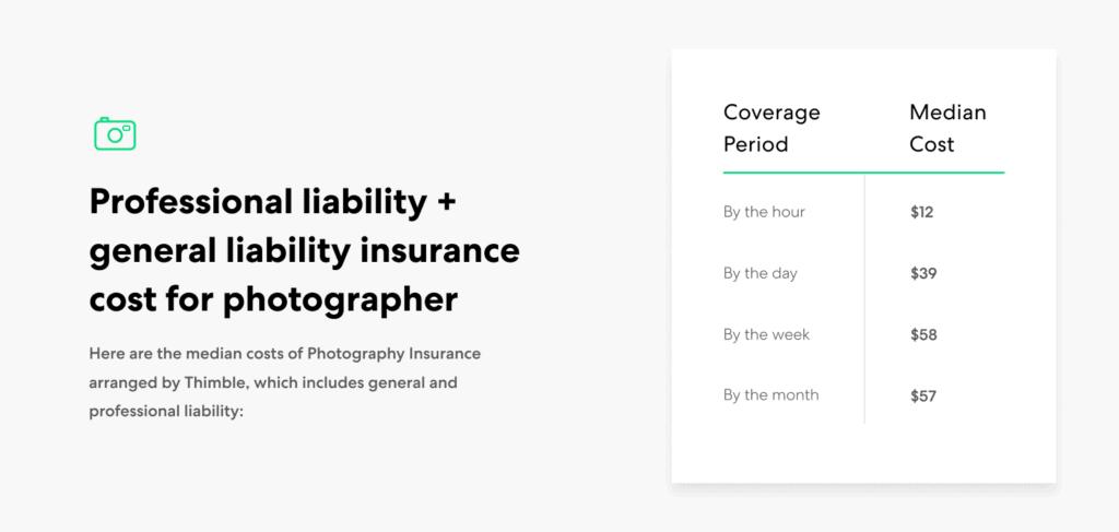 Photographer-GL+PL insurance cost ranges