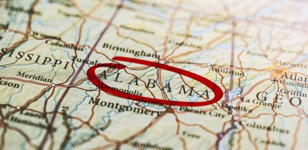 Alabama Marked on Map