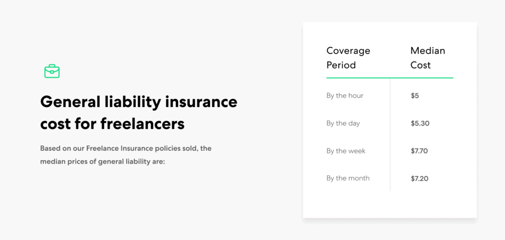 Freelancers general liability insurance cost