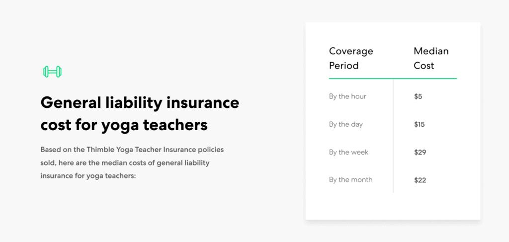 Yoga Teacher-general liability insurance cost