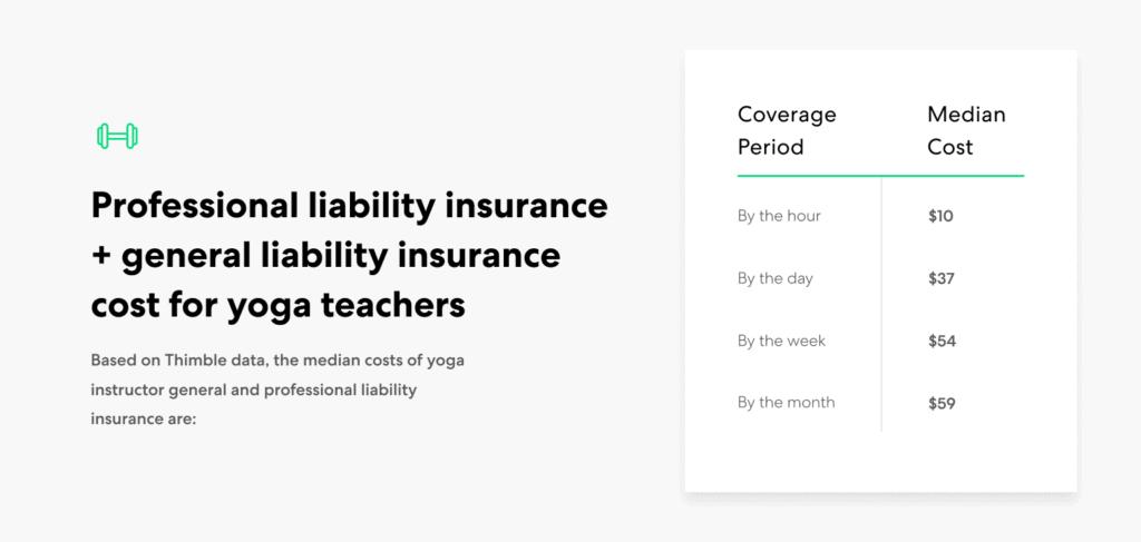 Yoga Teacher-GL+PL insurance cost