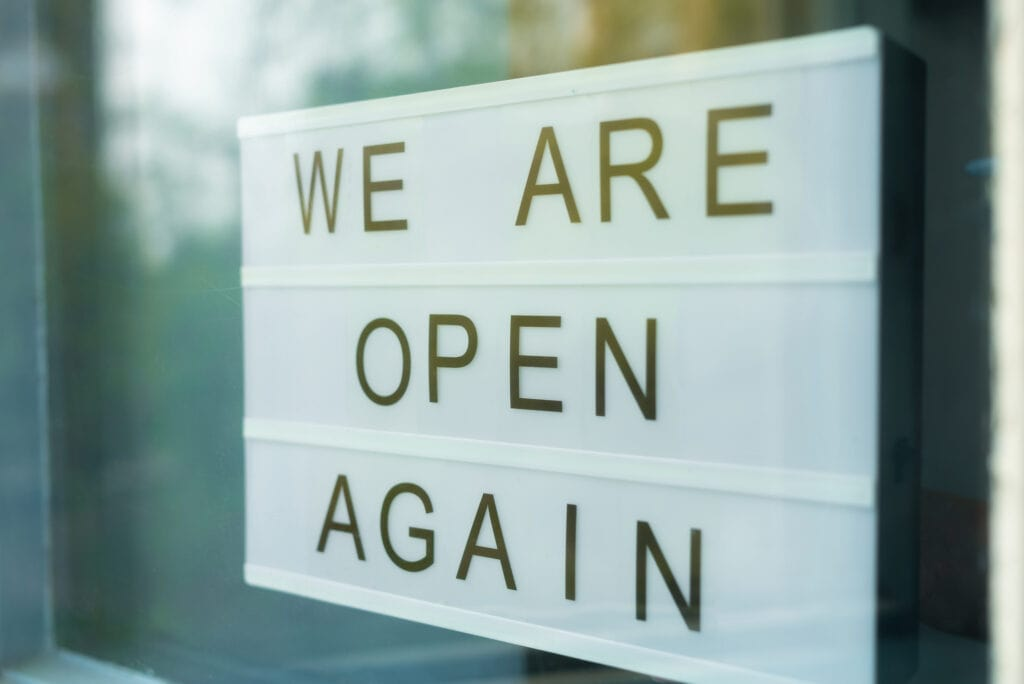 business reopen sign