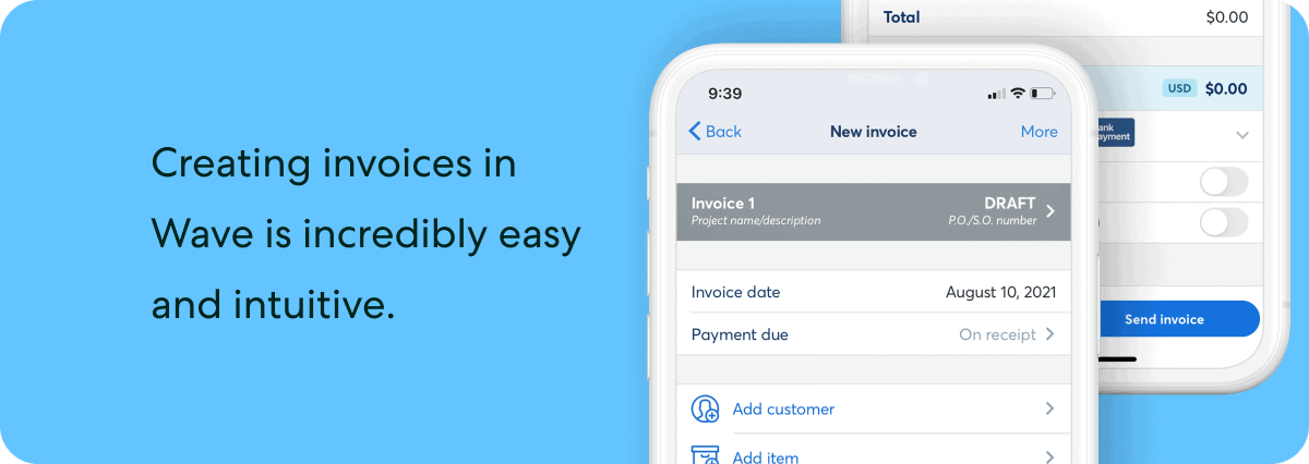 Creating invoice in Wave