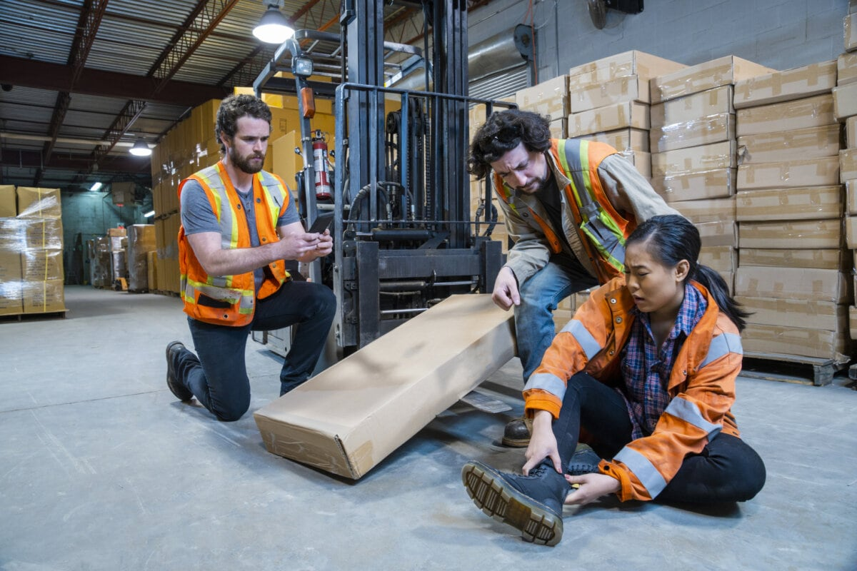 Worker injured falling or being struck by a forklift