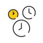 Verifly black, white, and yellow drone time icon